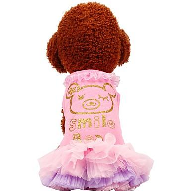 Psy / Koty / Zwierzęta domowe Suknie Ubrania dla psów Przezroczyste i zwiewne / Wzorzyste / Słowa i cytaty Green / Różowy Bawełna Kostium