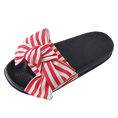 Negro PU Mujer Pajarita Plano redondo Tacón Zapatillas Rojo Confort flip flops Zapatos Dedo 06689428 Verano y qFqgfUw