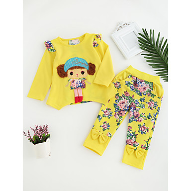 8b3cad554695d Toddler Girls' Casual Active Daily Going out Cartoon Print Long Sleeve  Regular Regular Cotton Clothing Set Blushing Pink / Cute