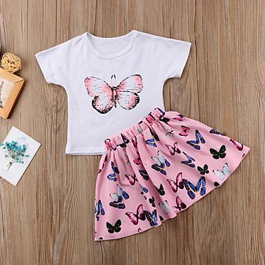 povoljno Odjeća za djevojčice-Djeca Dijete koje je tek prohodalo Djevojčice Aktivan Osnovni Print Kratkih rukava Pamuk Spandex Komplet odjeće Obala