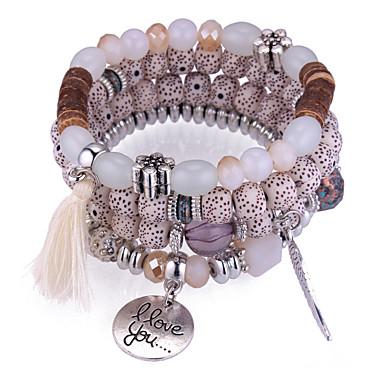 voordelige Armband-Bedelarmbanden Kralenarmband Kwastje stack stapelbaar Veer Dames Europees Etnisch Modieus Acryl Armband sieraden Donkerblauw / Grijs / Rood Voor Dagelijks