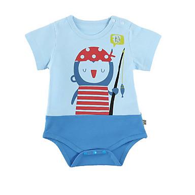 Bebelus Unisex Activ Imprimeu Mânecă scurtă Bumbac O - piesă Albastru piscină 90