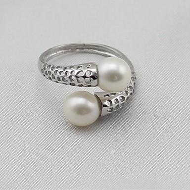billige Motering-Dame Band Ring Knokering vikle ring Perle S925 Sterling Sølv Legering damer Klassisk Mote Elegant Motering Smykker Sølv Til Gave Daglig 8