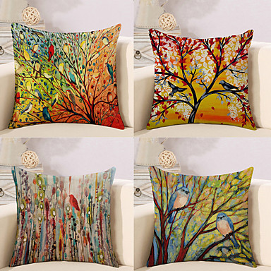 cheap Home Decor-Pack of 4, Botanical Animal Oil Painting Artistic Pastoral Style Cotton Linen Decorative Square Throw Pillow Covers Set Cushion Case for Sofa Bedroom Car