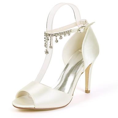 ouvert Perle Escarpin Rouge Chaussures Strass Printemps Bout Basique de Aiguille Femme Chaussures 06668726 mariage Satin Talon Imitation P6qnSZS