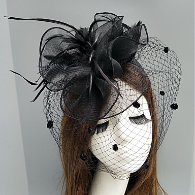 Feather / Net Fascinators / Hats / Headpiece with Feather / Floral / Flower 1pc Wedding / Special Occasion Headpiece