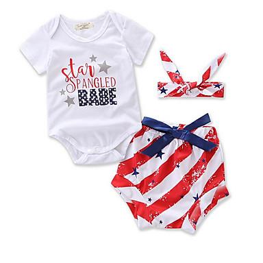 Bebelus Fete Șic Stradă Dungi Manșon scurt Set Îmbrăcăminte / Copil