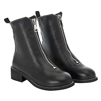 06661508 Mode Automne Noir Bottes à Bottes Cuir Bout Chaussures Combat la rond boîtes Femme Printemps de Plat Talon nTA0fwanxq