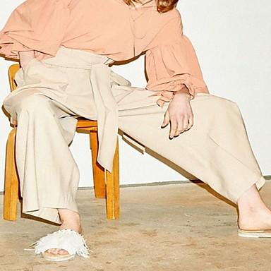 amp; Femme Chaussures Confort Plat Talon Gland Blanc Polyuréthane Bout Eté Chaussons Tongs 06684270 ouvert nrX4qSr
