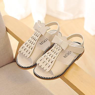 Dla dziewczynek Obuwie Skóra Wiosna lato Comfort Sandały Sztuczna perła / Klamra / Tasiemka na White / Gray / Różowy