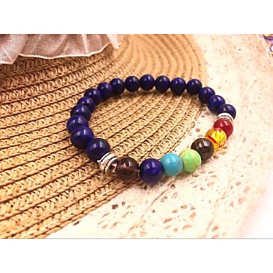 abordables Bracelet-Bracelet à Perles Femme Chakra Onyx Pierre Naturelle dames Naturel Mode Coloré Guérison Bracelet Bijoux Bleu de minuit Marron Bleu clair Forme de Cercle pour Quotidien Vacances