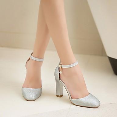 Otoño Confort Dorado Cuadrado Pump Zapatos 06683273 Negro PU Básico Tacón Tacones Plata Mujer qtp4Ewz
