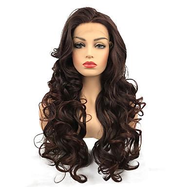 Syntetyczne koronkowe peruki Kędzierzawy Środkowa cześć Włosy syntetyczne 100% włosy kanekalon Burgundowy Peruka Damskie Długo Peruka