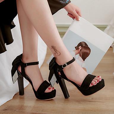 Sandales 06716814 Bottier Brillante Cuir Noir Eté Noeud Bout Boucle de Nubuck Bride Cheville Talon Paillette Chaussures Femme ouvert Rouge xzUR00