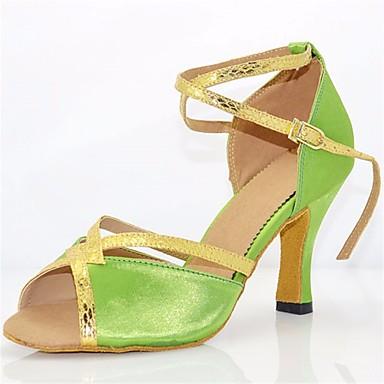 Women's Latin Heel Shoes Silk Heel Stiletto Heel Latin Dance Shoes Green / Performance / Leather / Practice 38f6d7