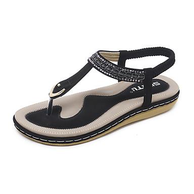 Mujer PU Verano microfibra Plano Almendra Negro sintético Innovador redondo Cristal Tacón Zapatos 06685190 Pedrería Sandalias Dedo I4r5q1rx