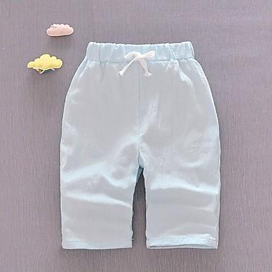 baratos Calças & Leggings para Meninas-Infantil Unisexo Básico Diário Sólido Patchwork Algodão Calças Laranja