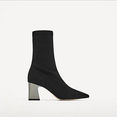 06682398 Bottier Demi hiver boîtes Talon de Noir Flocage Femme Combat pointu Bottine Bottes Botte Bout Chaussures Automne zOqanASx