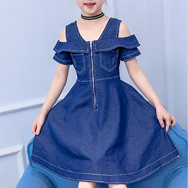 cheap Baby & Kids-Kids Girls' Active / Sweet Daily / Going out Solid Colored Pleated Short Sleeve Midi Cotton / Polyester Dress Blue