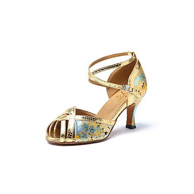 Womens Latin Salsa Dance Shoes Style US445  EU34  UK225  CN33 Black and Gold  B07415MZXP