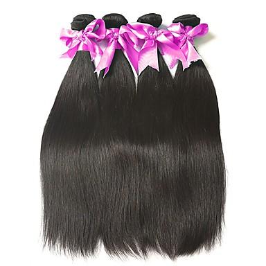 voordelige Weaves van echt haar-4 bundels Maleisisch haar Recht 8A Echt haar Menselijk haar weeft Bundle Hair Extentions van mensenhaar Natuurlijke Kleur Menselijk haar weeft Zacht Hot Sale Comfortabel Extensions van echt haar Dames