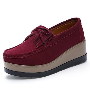 Pentru femei Pantofi Piele de Căprioară Toamnă Confortabili Mocasini & Balerini Creepers Maro / Verde Militar / Roșu Vin / Party & Seară