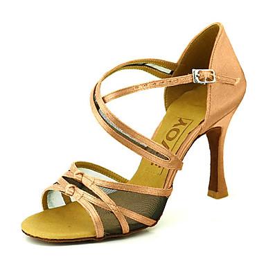 Chaussures de danse(Noir / Bleu / Jaune / Rose / Violet / Rouge / Blanc) -Personnalisables-Talon Personnalisé-Satin-Latine / Salsa , blue , us9.5-10 / eu41 / uk7.5-8 / cn42