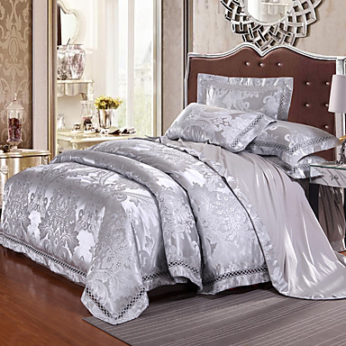 Duvet Cover Sets Luxury Silk / Cotton Blend Jacquard 4 PieceBedding Sets / 500 / 4pcs (1 Duvet Cover, 1 Flat Sheet, 2 Shams)