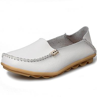 Pentru femei Pantofi Piele Toamna iarna Confortabili / Mocasini Mocasini & Balerini Toc Drept Rosu / Albastru / Roz Deschis