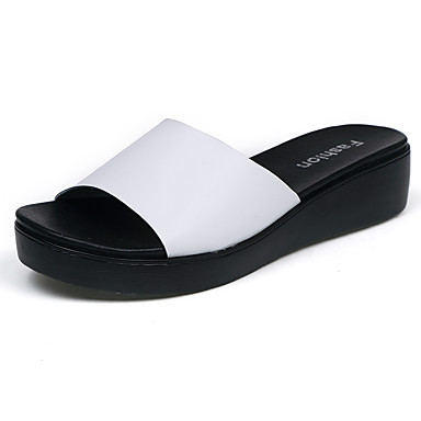 Pentru femei Pantofi Piele Primavara vara Confortabili Papuci & Flip-flops Toc Drept Alb / Negru