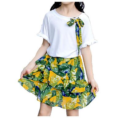Copii Fete Activ / De Bază Plajă Imprimeu Imprimeu Manșon scurt Bumbac Set Îmbrăcăminte