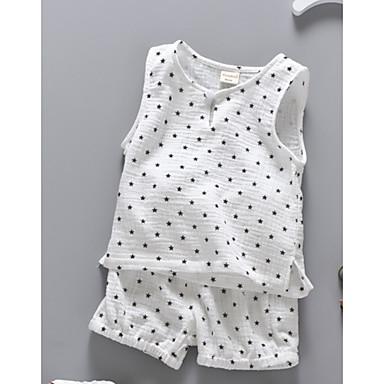Bebelus Unisex Imprimeu Fără manșon Set Îmbrăcăminte