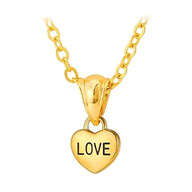 levne Dámské šperky-Náhrdelníky s přívěšky Ryté Srdce láska Módní Nerez Zlatá Stříbrná 55 cm Náhrdelníky Šperky Pro Svatební Denní Plesová maškaráda Zásnuby Maturitní ples Slib