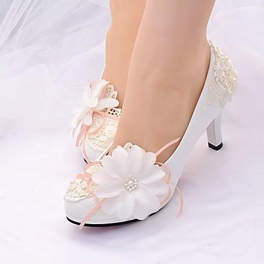 redondo Primavera Talón Tacón Perla Dedo verano boda Descubierto de Semicuero Stiletto Pump Mujer de Zapatos Zapatos Básico 06679096 Encaje tnqZZC