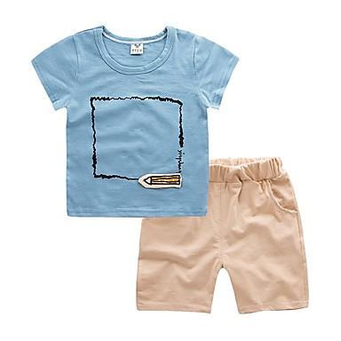 Copil Băieți De Bază Mată Manșon scurt Bumbac Set Îmbrăcăminte