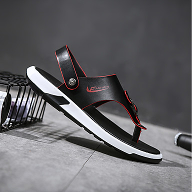 Męskie Komfortowe buty PU Lato Klapki i japonki Czarny