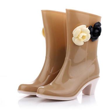 en Printemps été Bout pluie Bottes Chaussures Talon Fleur Noir Amande Bottier Femme PVC Mi Satin de rond Bottes Bottes mollet 06682810 xaqv1wfBEt