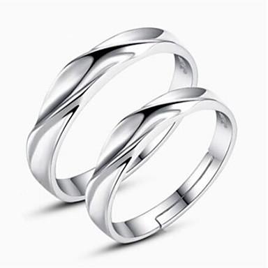 billige Motering-Par Parringer Sølv Sølv damer Enkel Klassisk Daglig Smykker Matchende Hans og Hennes Twist Circle Venskap