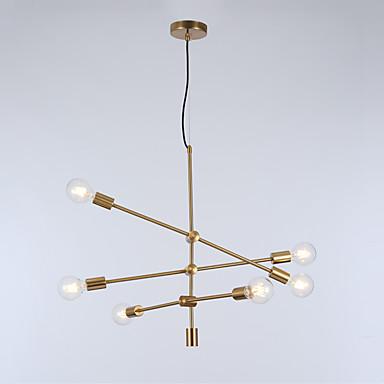 Europa Północna nowoczesne lampy wiszące z 6-światła salon jadalnia sypialnia żyrandol galwanicznie złotym wykończeniem