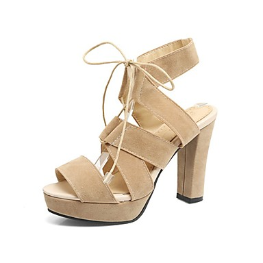 Women's Shoes PU(Polyurethane) Summer Gladiator Sandals Walking Shoes Chunky Heel Light Peep Toe Ribbon Tie Light Heel Yellow / Pink / Wine 084741