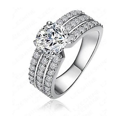 billige Motering-Dame Band Ring / Micro Pave Ring Diamant / Kubisk Zirkonium / liten diamant Sølv Kobber Uregelmessig damer / Klassisk / Mote Engasjement / Daglig Kostyme smykker