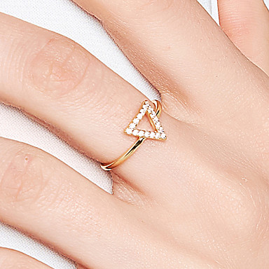 billige Motering-Dame Band Ring Diamant Kubisk Zirkonium liten diamant Gull 18K Gullbelagt S925 Sterling Sølv Trekant Dainty damer Koreansk Daglig Formell Smykker