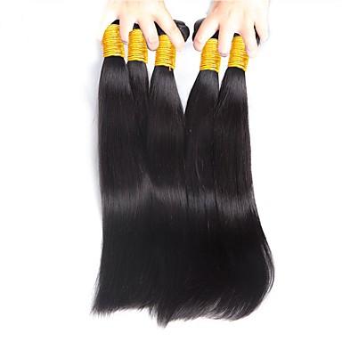 baratos Extensões de Cabelo Natural-4 pacotes Cabelo Brasileiro Liso 8A Cabelo Humano Um Pacote de Solução Côr Natural Tramas de cabelo humano Recém nascido Macio Lady sexy Extensões de cabelo humano Mulheres