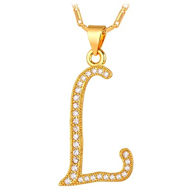 99f39b59d4 Men s Cubic Zirconia Name Pendant Necklace Alphabet Shape Letter Fashion  Gold Silver 55 cm Necklace Jewelry For Gift Daily