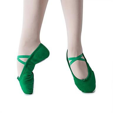 Fille Fille Fille Chaussures de Ballet Toile Talon Talon Plat Chaussures de danse Vert foncé 182dd3
