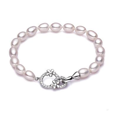abordables Bracelet-Bracelet à Perles Femme Perle Perle d'eau douce S925 argent sterling Perle d'eau douce Goutte dames simple Naturel Doux Bracelet Bijoux Blanc pour Cadeau Quotidien