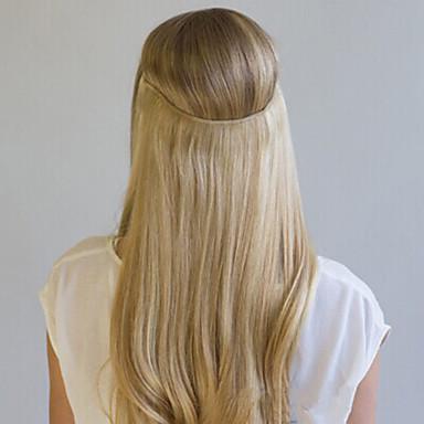 お買い得  ヘアエクステンション-Flip In 人間の髪の拡張機能 クラシック 人毛 人毛エクステンション 女性用 ブリーチブロンド