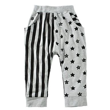 baratos Calças para Meninos-Bébé Para Meninos Básico Geométrica Algodão Calças Cinzento