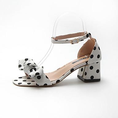 Pentru femei Pantofi Piele / Imitație de Piele Primavara vara Pantofi pe Gleznă Sandale Toc Îndesat Vârf pătrat Alb / Negru