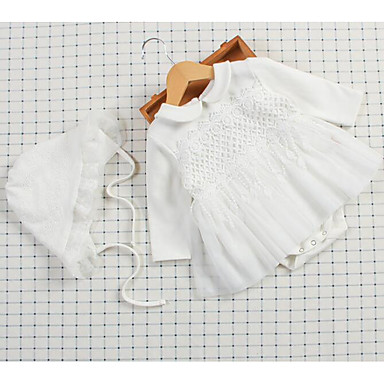 df182f326 Baby Girls' Daily Solid Colored Peplum / Modern Style Long Sleeve Polyester  Bodysuit White / Cute